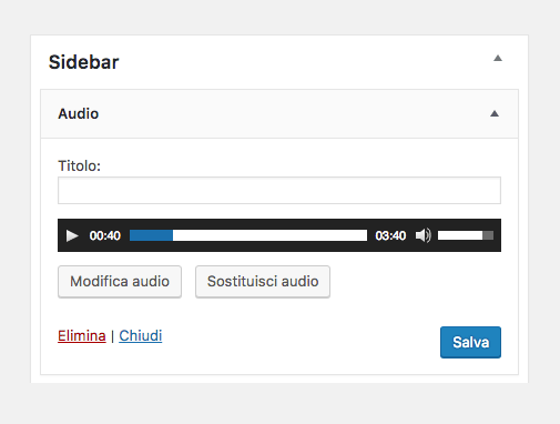 widget audio WordPress 4.8